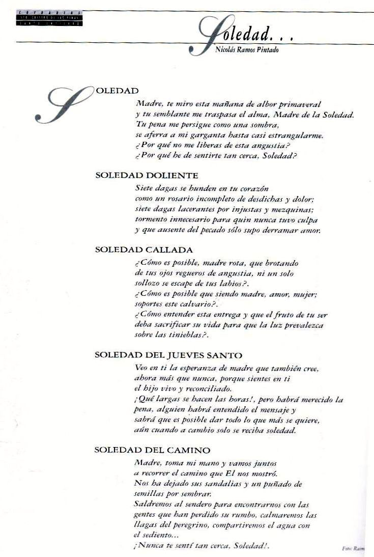 COFRADIA STO. CRISTO DE LAS PENAS (MOLINA DE SEGURA) POEMA