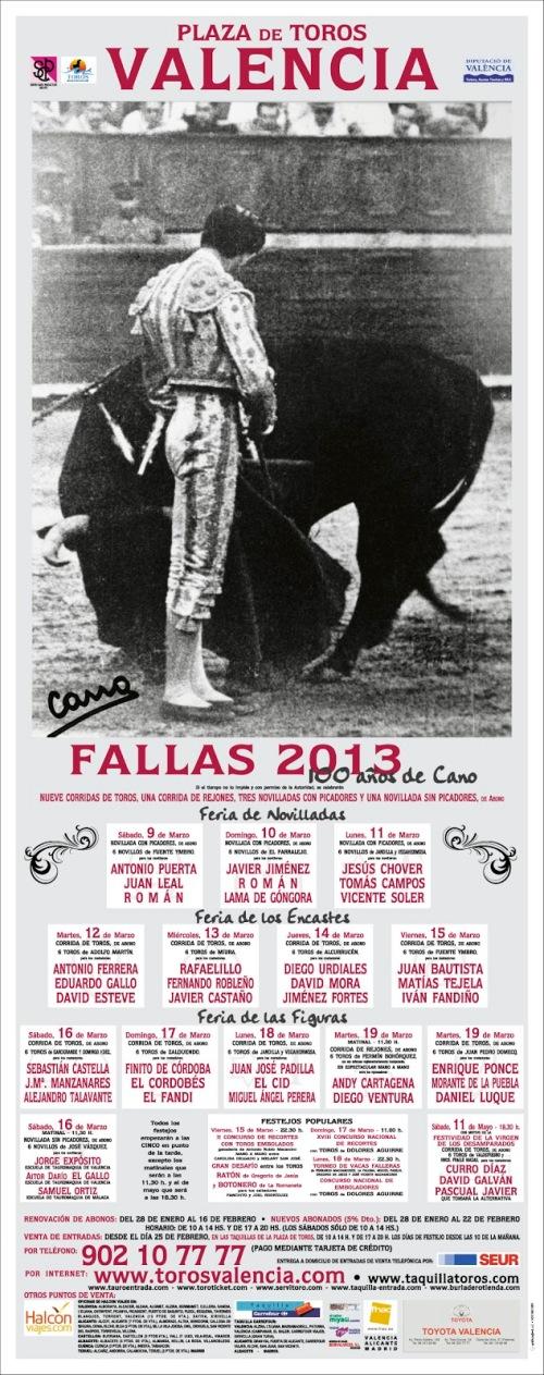 PLAZA DE TOROS DE VALENCIA CARTEL DE FALLAS 2013 2013